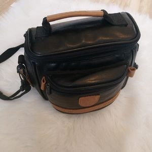 Vintage Solidex black leather camera bag